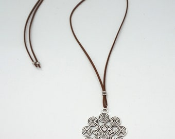 Swirl Necklace Spiral Silver Suede Boho Bohemian