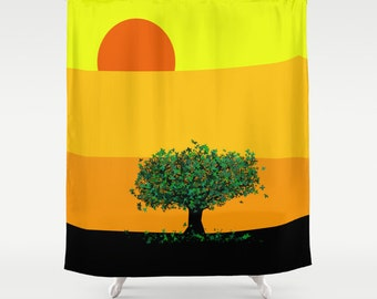 Tree In An Orange Country Shower Curtain Yellow Curtain Sunset Curtain Tree  Shower
