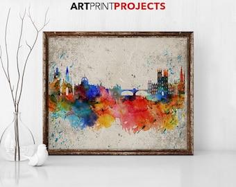 Edinburgh poster, Edinburgh skyline, abstract print, Vintage print, Scotland print, Travel, City art,  Gift, Home Decor, ArtPrintProjects