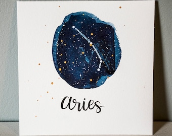 Aries Constellation Painting - Galaxy, Night Sky, Stars, Original Watercolor, Birthday Present, Zodiac Gift, March Birthday, April Birthday