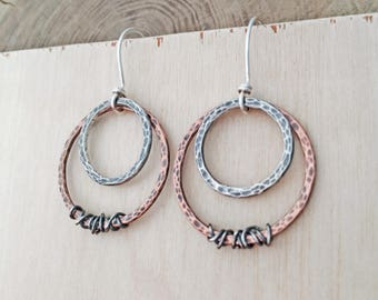 Artisan Mixed Metal Earrings Hoop Dangle Earrings Artisan Dangle Earrings Rustic Jewelry Unique Mixed Metal Dangle Earrings Handmade Jewelry