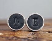 Personalised Leather Cufflinks - Classic Black - Groomsmen Cuff links - 3rd Anniversary Gift - Handmade Wedding Cufflinks -