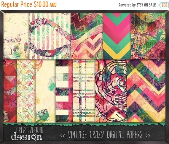 70% OFF Sale Digital paper, Digital Scrapbook paper pack - Instant download - 12 Digital Papers - Crazy vintage