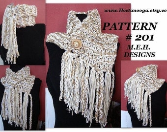 Scarf Pattern, Knitting, num 201 JUMBO FRINGED COWL Beginners. For a crochet version see pattern number 202
