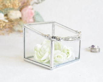 Glass Box, Wedding Ring Box, Clear Glass Ring Bearer, Engagement Ring Box, Glass Box With a Hinged Lid.