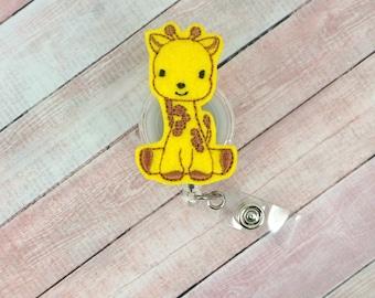 Giraffe Badge Reel - Animal Badge - Badge Reel - Feltie Badge Reel- Retractable ID Badge Holder - Badge Pull