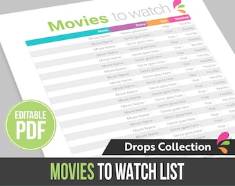 Movies to watch list - Instant Download! Editable PDF file, ready to edit and print at home!