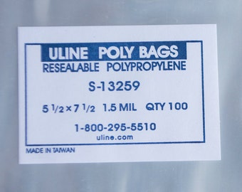 """100 count 5 1⁄2 x 7 1⁄2"""" RESEALABLE POLY BAGS (S-13259), Large, fits A7 card or 5x7 photos"""