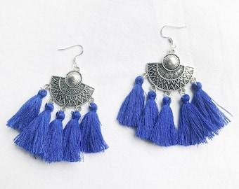 AGATHE blue ethnic earrings