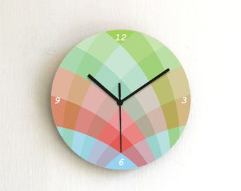 Geometric soft pastel green red blue wall clock,colorful round graphic design decorative printed numbers wooden modern kitchen home decor