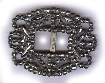 ORNATE CUT STEEL buckle from france fancy swirls buckle antique steel buckle repurpose bridal finding patina