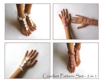 CROCHET PATTERN SET - Wedding Nude Shoes Bridal Crochet Cuffs Pattern 2 in 1 Crochet Patterns Foot and Arm Jewelry Barefoot Sandals Pattern