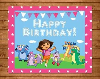 Dora The Explorer Printable Birthday Sign Pink - Dora Birthday Sign -- Dora The Explorer Party Favors -- Dora The Explorer Birthday Banner