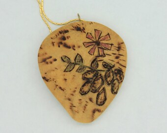 Wood Burned Gourd Pendant on Gold Plated Chain