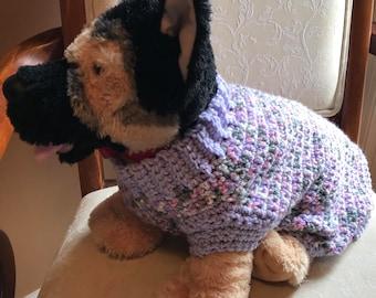 Lavender Medium Dog Crochet Sweater
