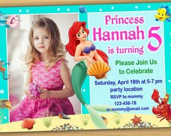 SALE, Ariel Birthday Invitation, Princess Ariel birthday Invitation, Little Mermaid birthday invitation - Digital file