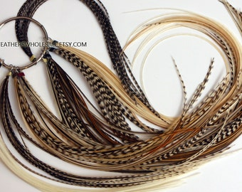 Bulk Feather Extensions Wholesale Hair Feathers Natural Real Rooster Feathers for Hair - 100 Pack 50 Beads 1 Threader Grizzly Brown etc