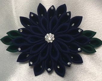 Navy And Dark Green Kanzashi Style French Barrette