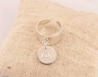 Sterling Silver ring adjustable Large pendant to be engraved - personalized engraved jewelry