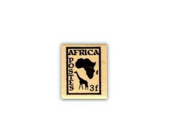Africa Postage Stamp Mounted rubber stamp, tribal, travel journal stamp, Sweet Grass Stamps No.17