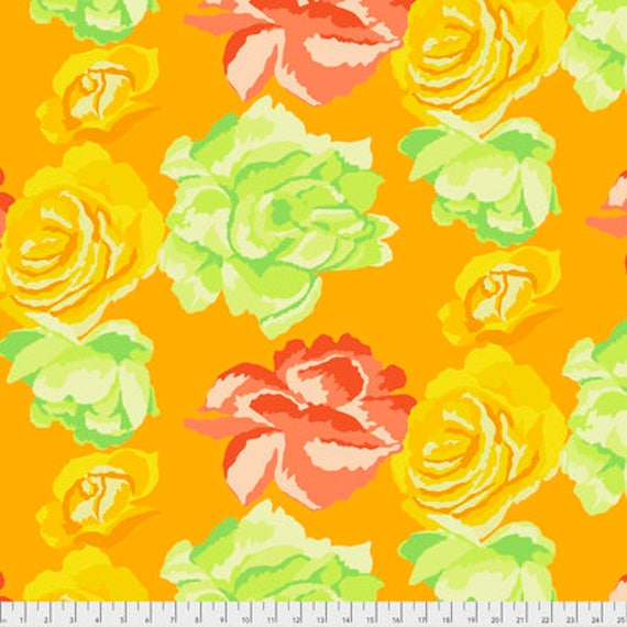 ROSE CLOUDS GOLD Yellow PWGP164 Kaffe Fassett Sold in 1/2 yd increments