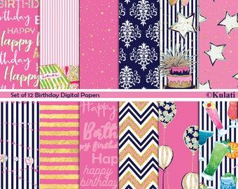 Instant Download - Colorful, preppy birthday Digital Paper Pack, birthday designs, printable birthday paper, birthday decorations