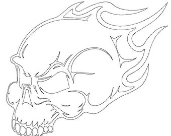 Flame skull DXF file for CNC plasma, router, waterjet, laser machine