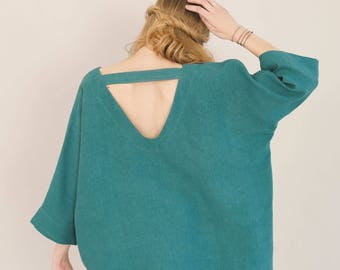 Oversized tunic top in forest green - kimono sleeve top - Spring womens tunics