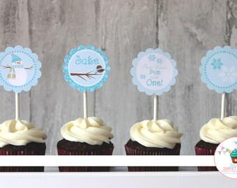 Snowman Cupcake Toppers, Winter Wonderland, Winter One-derland, Snow Much Fun Birthday, Printable Cupcake Toppers, Winter Birthday