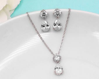 Wedding Jewelry Set, Dainty Pear cubic zirconia CZ jewelry, silver crystal wedding necklace set, cubic zirconia set, Rayna Jewelry Set