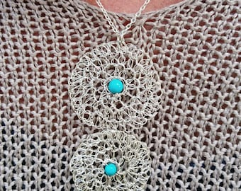 Turquoise pendant. Turquoise jewelry. Wire crochet jewelry. French handmade jewelry. Gift woman. Gift christmas woman. gift woman meditation