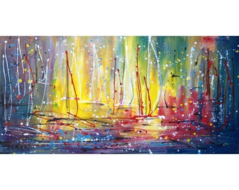 Pollock Inspired Abstract Lake Boats Painting MAGIC MORNING Expressionist Drip Painting