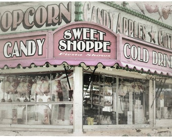 Photo Print - Cotton Candy, Pink Sweet Shoppe, Carnival, Vintage Sweeet Shoppe