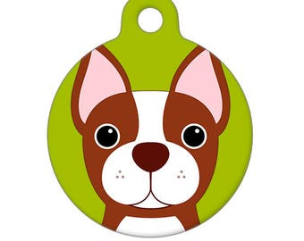 Pet ID Tag - Boston Terrier, Red, Brown, Pet Tag, Dog Tag