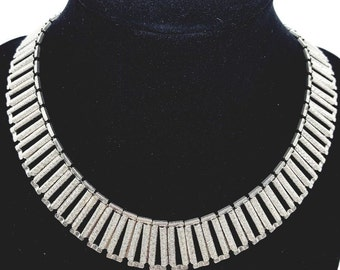 Vintage Judy Lee Signed Book Chain Choker Necklace and Bracelet Set Silver Tone 1960's