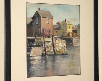 Marie Stobbe Hand Signed Massachusetts Watercolor Motif No. 1 Rockport c. 1950 Custom Frame