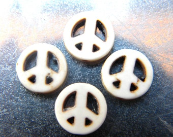 10 howlite beads 12 mm-Dragon - ivory howlite peace symbol - 24