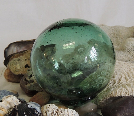 Vintage Japanese Glass FISHING FLOAT.. Makers Button Seal Mark, Teal Green (#13)