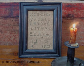 Primitive 1823 E.W. Alphabet Sampler Cross Stitch E Pattern PDF