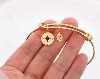 Compass bracelet, Personalized initial bangle bracelet, graduation gift ,initial bracelet,Leaf initial