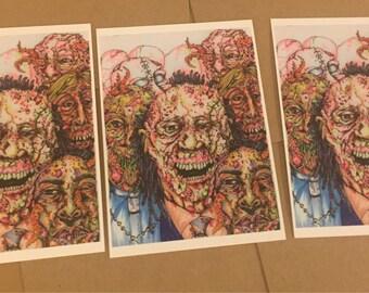 Mixed Media Zombie Postcards SET of 3 Mutant Alien Zombies