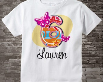 Six Year Old Shirt with Name, Sixth Birthday Shirt, Fancy Number 6th Birthday, Personalized Girls Birthday t-shirt 04082013d