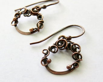 Tiny Copper Hoop Earrings - Small Copper Hoop Earrings - Antiqued Copper Earrings - Hammered Hoops - Mother's Day Gift Idea