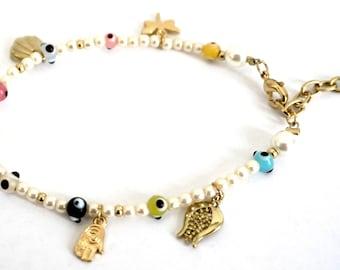 Pearl Evil Eye Bracelet, Lucky Bracelet, Gifts for her, Mother's Day Gift, Hamsa Bracelet