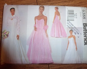 Vintage Butterick Pattern 6388 Wedding Gown and Bridesmaid Dress Pattern with Jacket, Dress and Stole  Size 6-8-10