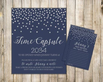 Digital Navy Blue TIME CAPSULE SIGN & Card, Boy 1st Birthday Time Capsule Message, Silver Confetti Time Capsule, Printable Dear Baby Cards