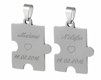 Personalized Puzzle Necklace Set For Couples / Custom Engraved Name