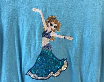 bellydancer, embroidered, t-shirt
