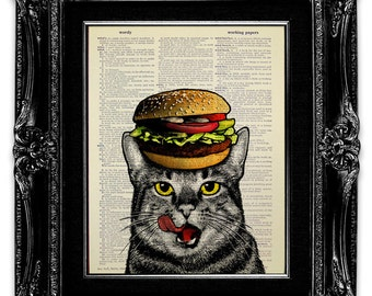 Hamburger Cat - Funny Cat GIFT for Cat Lover Gift, Tabby Cat Wall Art, CAT Wall Decor, Funny KITCHEN Decor, Kitchen Decoration, Cat Artwork