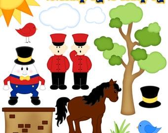 Humpty Dumpty Nursery Rhyme Digital Clipart - Set of 14  - Instant Download - Item# 8220